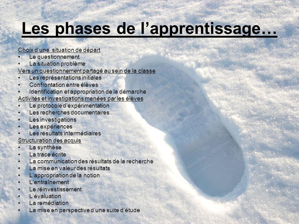 Les phases de lapprentissage… Choix dune situation de départ Le questionnement La situation problème Vers un questionnement partagé au sein de la clas