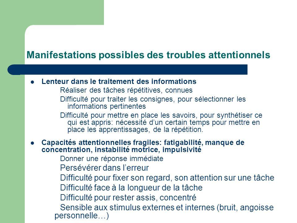 Manifestations possibles des troubles attentionnels Lenteur dans le traitement des informations Réaliser des tâches répétitives, connues Difficulté po