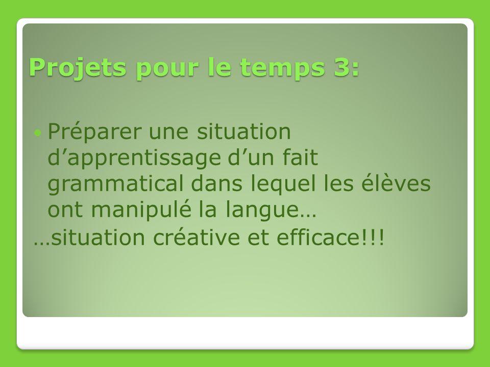 Projets pour le temps 3: Préparer une situation dapprentissage dun fait grammatical dans lequel les élèves ont manipulé la langue… …situation créative