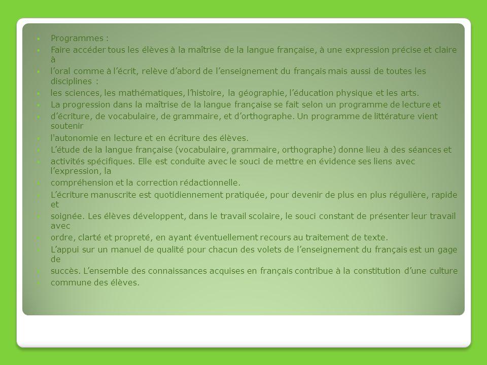 Programmes : Faire accéder tous les élèves à la maîtrise de la langue française, à une expression précise et claire à loral comme à lécrit, relève dab