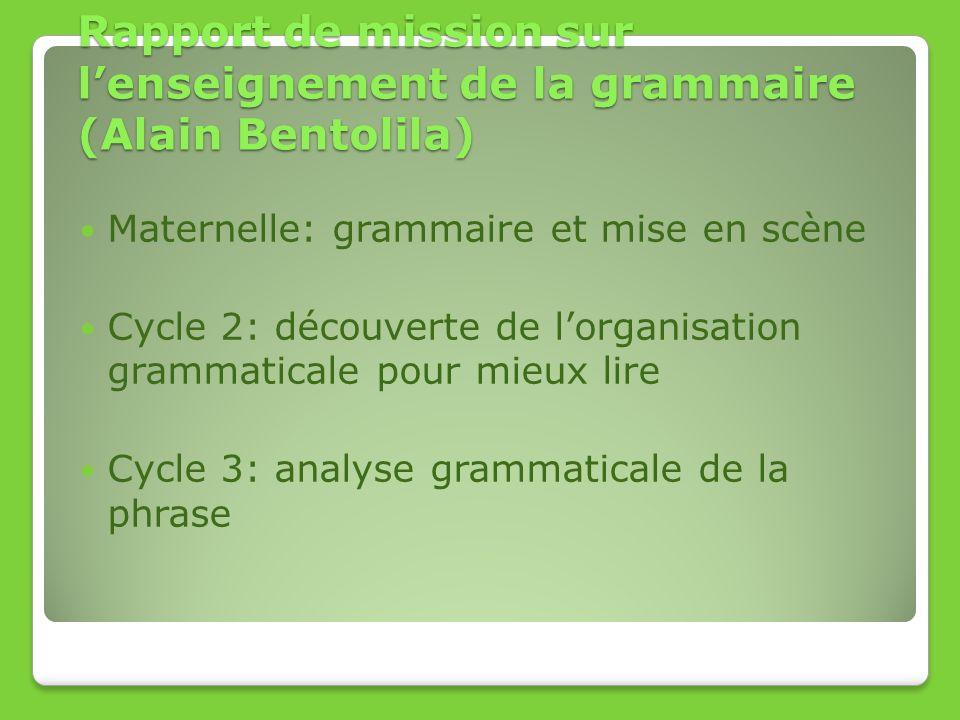 Rapport de mission sur lenseignement de la grammaire (Alain Bentolila) Maternelle: grammaire et mise en scène Cycle 2: découverte de lorganisation gra