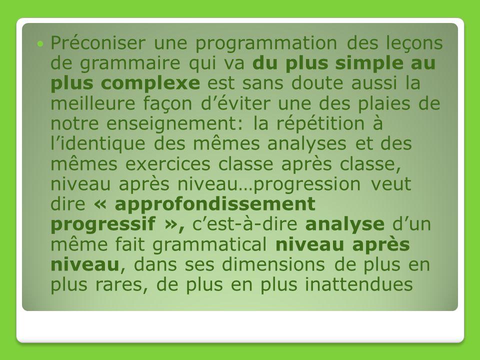 Préconiser une programmation des leçons de grammaire qui va du plus simple au plus complexe est sans doute aussi la meilleure façon déviter une des pl