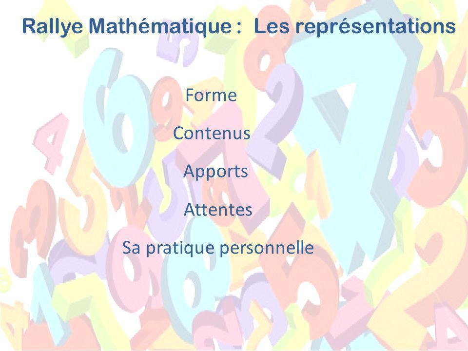 Forme Contenus Apports Attentes Sa pratique personnelle Les représentationsRallye Mathématique :