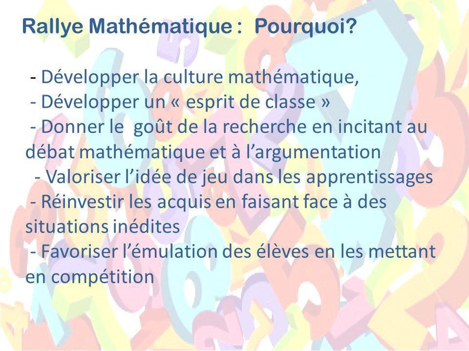 - Développer la culture mathématique, - Développer un « esprit de classe » - Donner le goût de la recherche en incitant au débat mathématique et à largumentation - Valoriser lidée de jeu dans les apprentissages - Réinvestir les acquis en faisant face à des situations inédites - Favoriser lémulation des élèves en les mettant en compétition Rallye Mathématique :Pourquoi