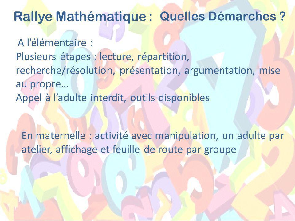 A lélémentaire : Plusieurs étapes : lecture, répartition, recherche/résolution, présentation, argumentation, mise au propre… Appel à ladulte interdit, outils disponibles Rallye Mathématique : Quelles Démarches .