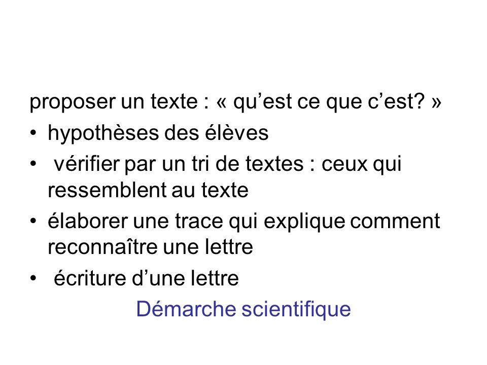 proposer un texte : « quest ce que cest? » hypothèses des élèves vérifier par un tri de textes : ceux qui ressemblent au texte élaborer une trace qui