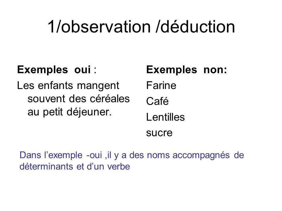 1/observation /déduction Exemples oui : Les enfants mangent souvent des céréales au petit déjeuner. Exemples non: Farine Café Lentilles sucre Dans lex