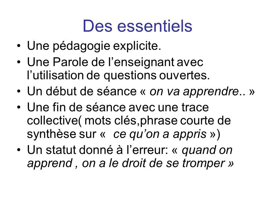 Des essentiels Une pédagogie explicite. Une Parole de lenseignant avec lutilisation de questions ouvertes. Un début de séance « on va apprendre.. » Un