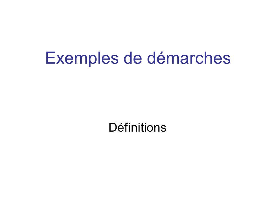 Exemples de démarches Définitions