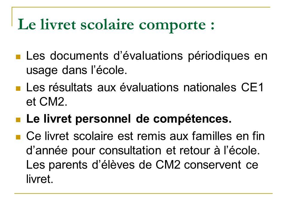 Le livret scolaire comporte : Les documents dévaluations périodiques en usage dans lécole. Les résultats aux évaluations nationales CE1 et CM2. Le liv