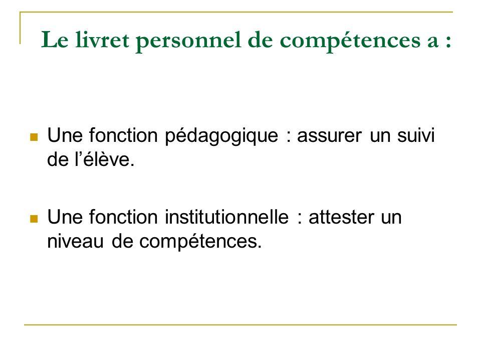 Le livret personnel de compétences a : Une fonction pédagogique : assurer un suivi de lélève. Une fonction institutionnelle : attester un niveau de co