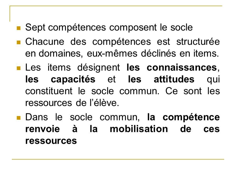 Sept compétences composent le socle Chacune des compétences est structurée en domaines, eux-mêmes déclinés en items. Les items désignent les connaissa