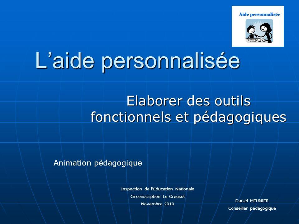 Laide personnalisée Elaborer des outils fonctionnels et pédagogiques Inspection de lEducation Nationale Circonscription Le Creusot Novembre 2010 Anima