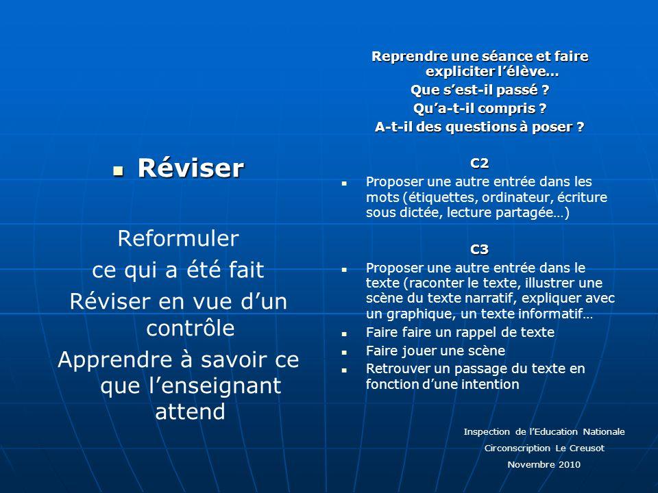 Réviser Réviser Reformuler ce qui a été fait Réviser en vue dun contrôle Apprendre à savoir ce que lenseignant attend Reprendre une séance et faire ex