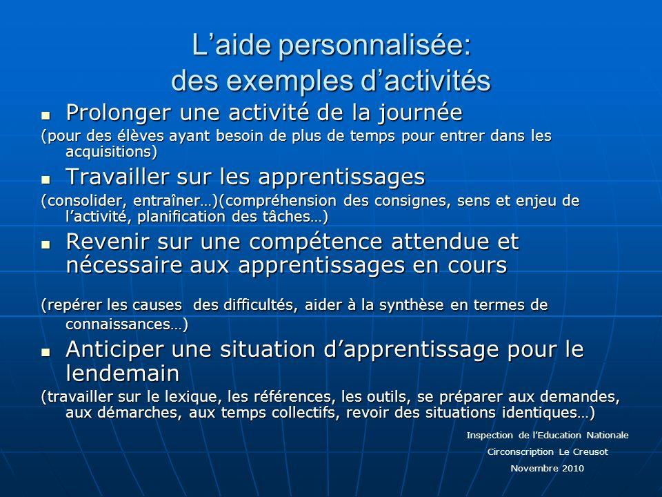 Laide personnalisée: des exemples dactivités Prolonger une activité de la journée Prolonger une activité de la journée (pour des élèves ayant besoin d