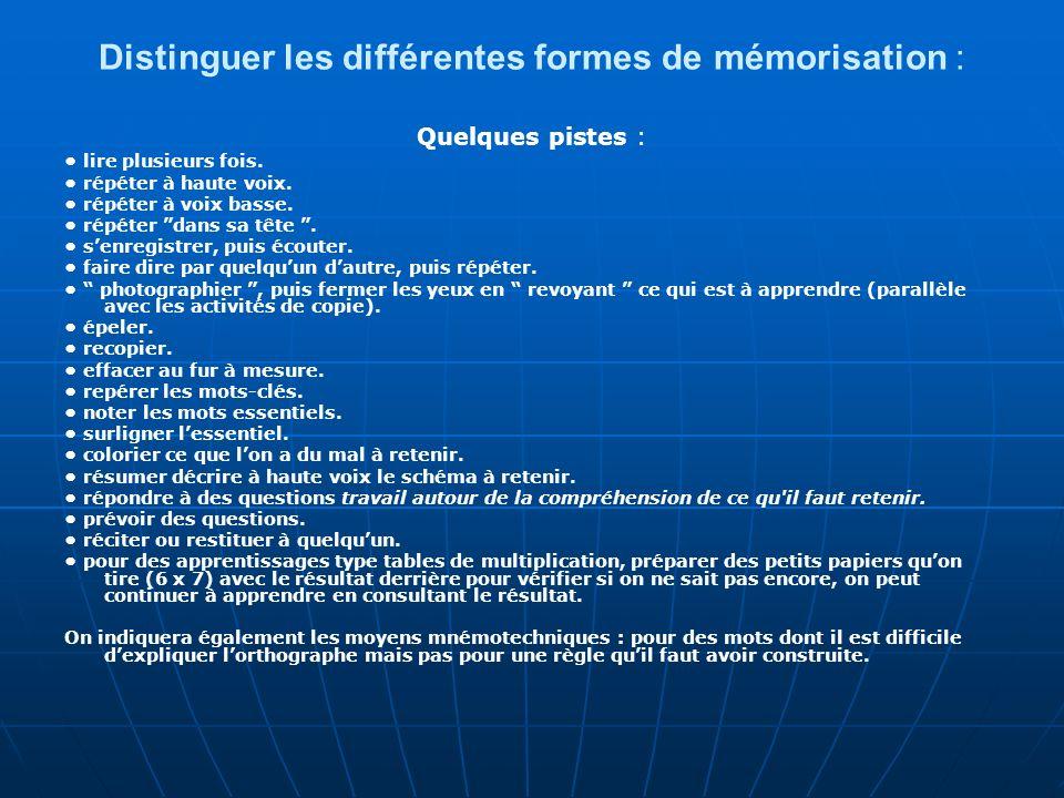 Distinguer les différentes formes de mémorisation : Quelques pistes : lire plusieurs fois. répéter à haute voix. répéter à voix basse. répéter dans sa