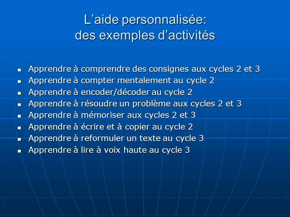 Laide personnalisée: des exemples dactivités Apprendre à comprendre des consignes aux cycles 2 et 3 Apprendre à comprendre des consignes aux cycles 2