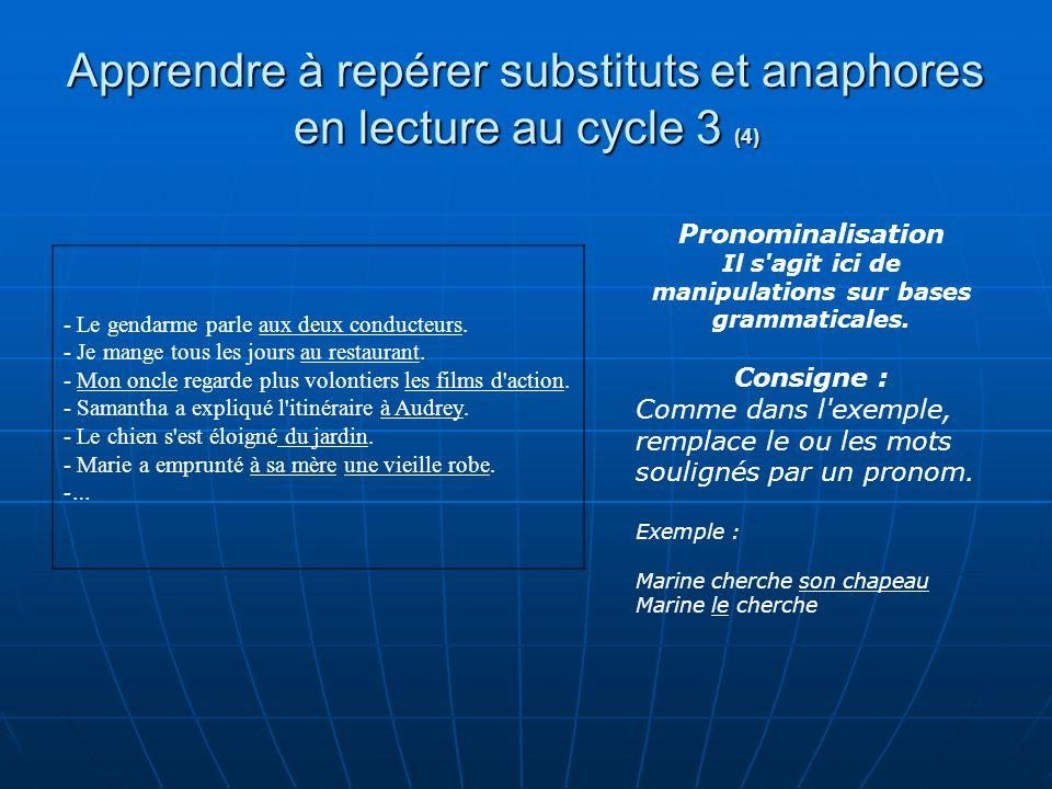 Apprendre à repérer substituts et anaphores en lecture au cycle 3 (4) - Le gendarme parle aux deux conducteurs. - Je mange tous les jours au restauran
