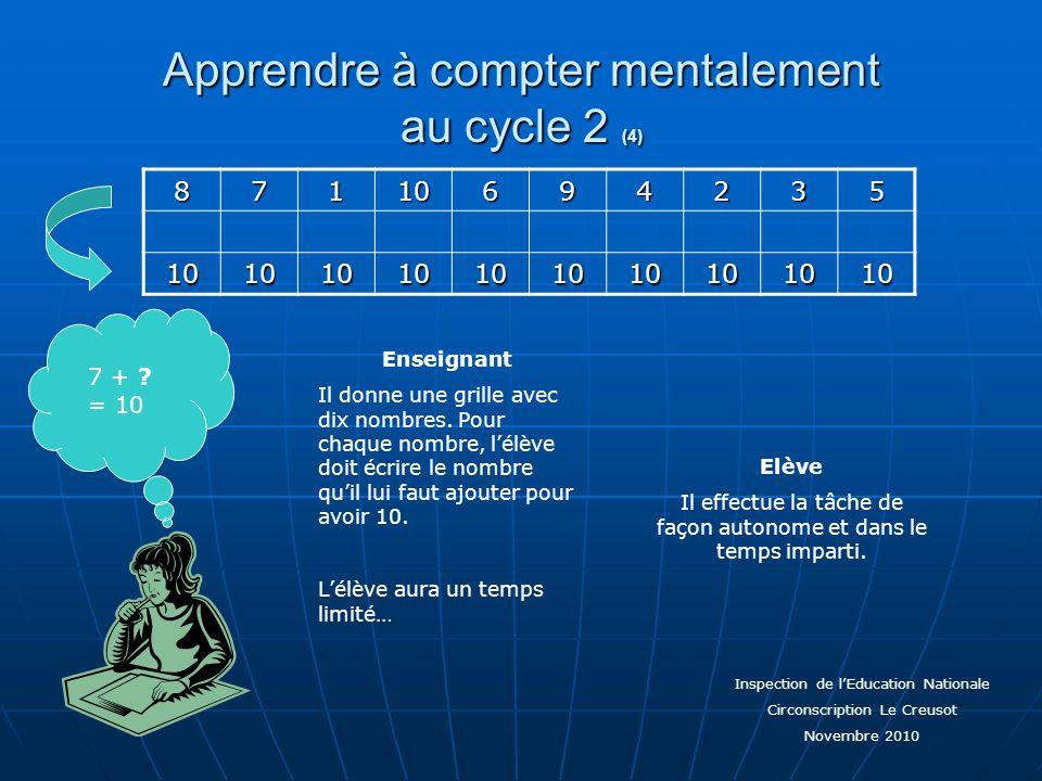 Apprendre à compter mentalement au cycle 2 (4) 7 + ? = 108711069423510101010101010101010 Enseignant Il donne une grille avec dix nombres. Pour chaque