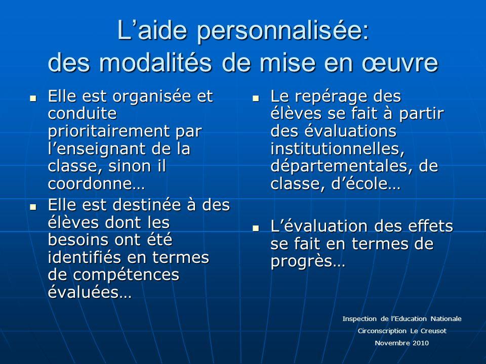 Laide personnalisée: des modalités de mise en œuvre Elle est organisée et conduite prioritairement par lenseignant de la classe, sinon il coordonne… E