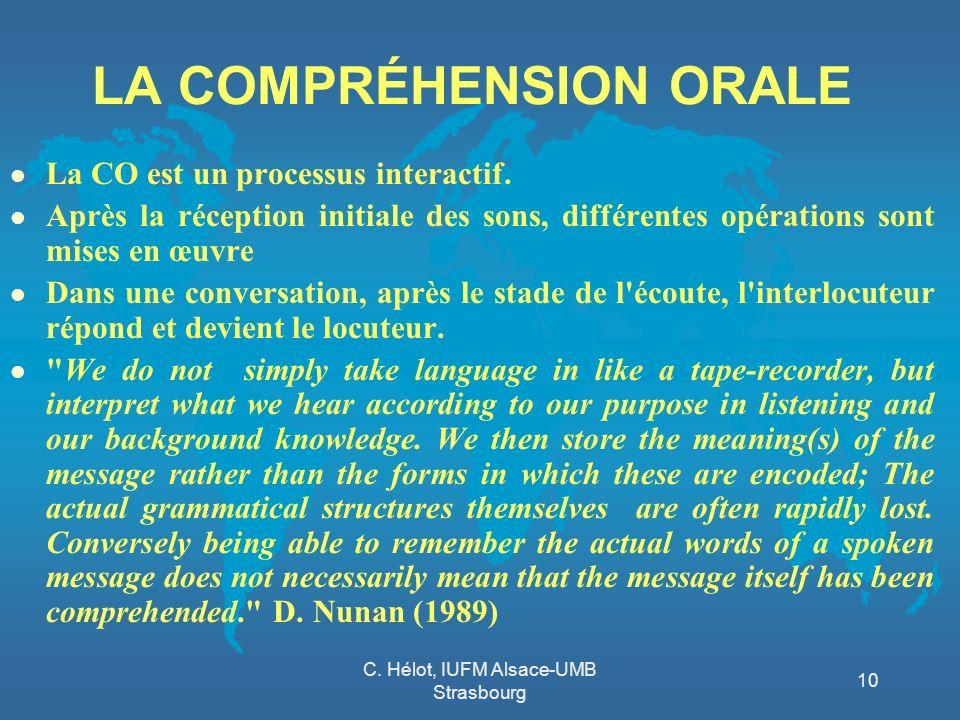 C. Hélot, IUFM Alsace-UMB Strasbourg 10 LA COMPRÉHENSION ORALE l La CO est un processus interactif. l Après la réception initiale des sons, différente