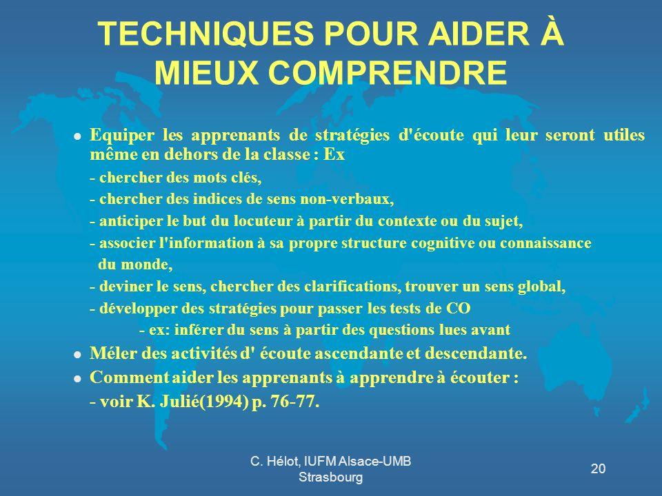 C. Hélot, IUFM Alsace-UMB Strasbourg 20 TECHNIQUES POUR AIDER À MIEUX COMPRENDRE l Equiper les apprenants de stratégies d'écoute qui leur seront utile