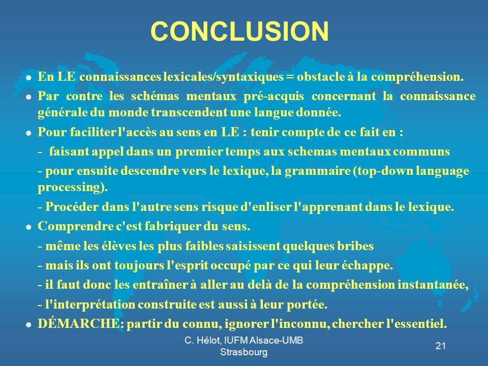 C. Hélot, IUFM Alsace-UMB Strasbourg 21 CONCLUSION l En LE connaissances lexicales/syntaxiques = obstacle à la compréhension. l Par contre les schémas