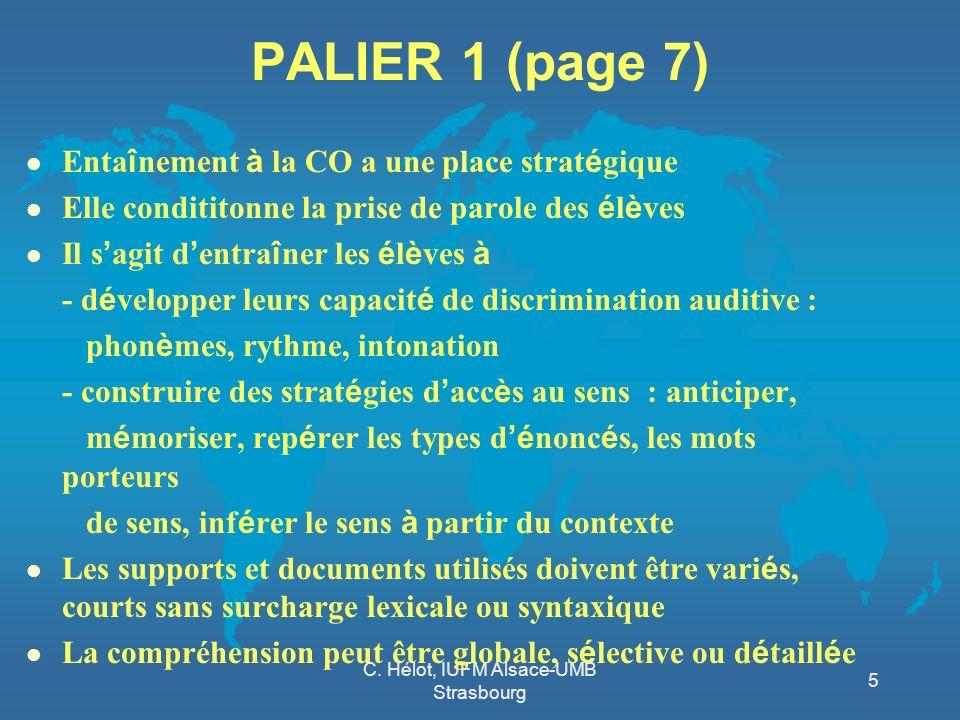 C. Hélot, IUFM Alsace-UMB Strasbourg 5 PALIER 1 (page 7) Enta î nement à la CO a une place strat é gique Elle condititonne la prise de parole des é l