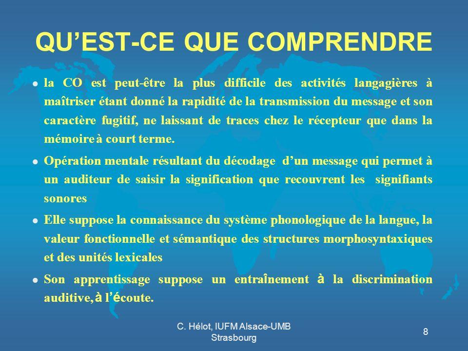 C. Hélot, IUFM Alsace-UMB Strasbourg 8 QUEST-CE QUE COMPRENDRE l la CO est peut-être la plus difficile des activités langagières à maîtriser étant don