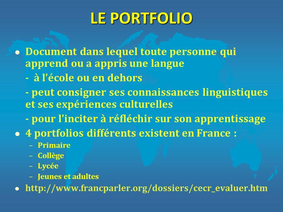 LE PORTFOLIO l Document dans lequel toute personne qui apprend ou a appris une langue - à lécole ou en dehors - peut consigner ses connaissances lingu