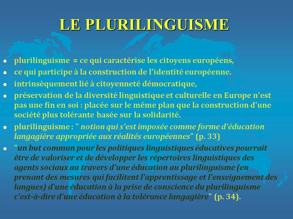 LE PLURILINGUISME l plurilinguisme = ce qui caractérise les citoyens européens, l ce qui participe à la construction de l'identité européenne. l intri