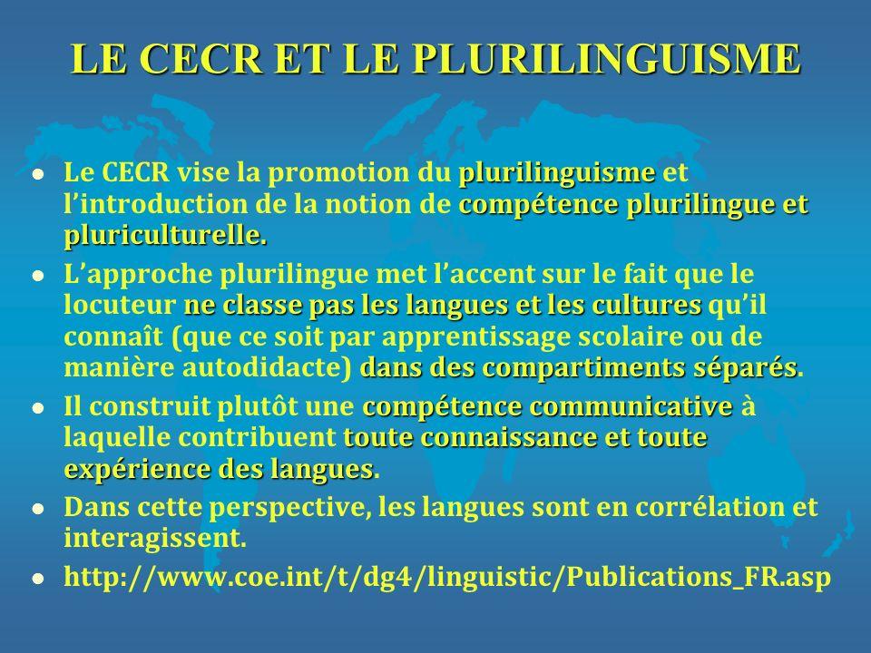 LE CECR ET LE PLURILINGUISME plurilinguisme compétence plurilingue et pluriculturelle. l Le CECR vise la promotion du plurilinguisme et lintroduction