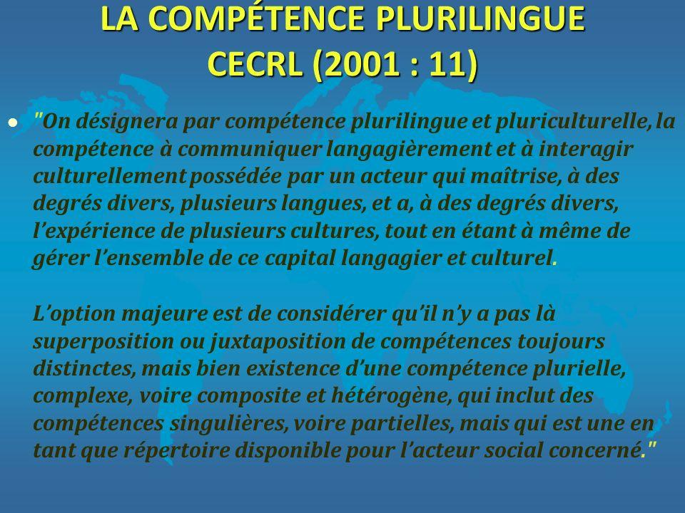 LA COMPÉTENCE PLURILINGUE CECRL (2001 : 11) l