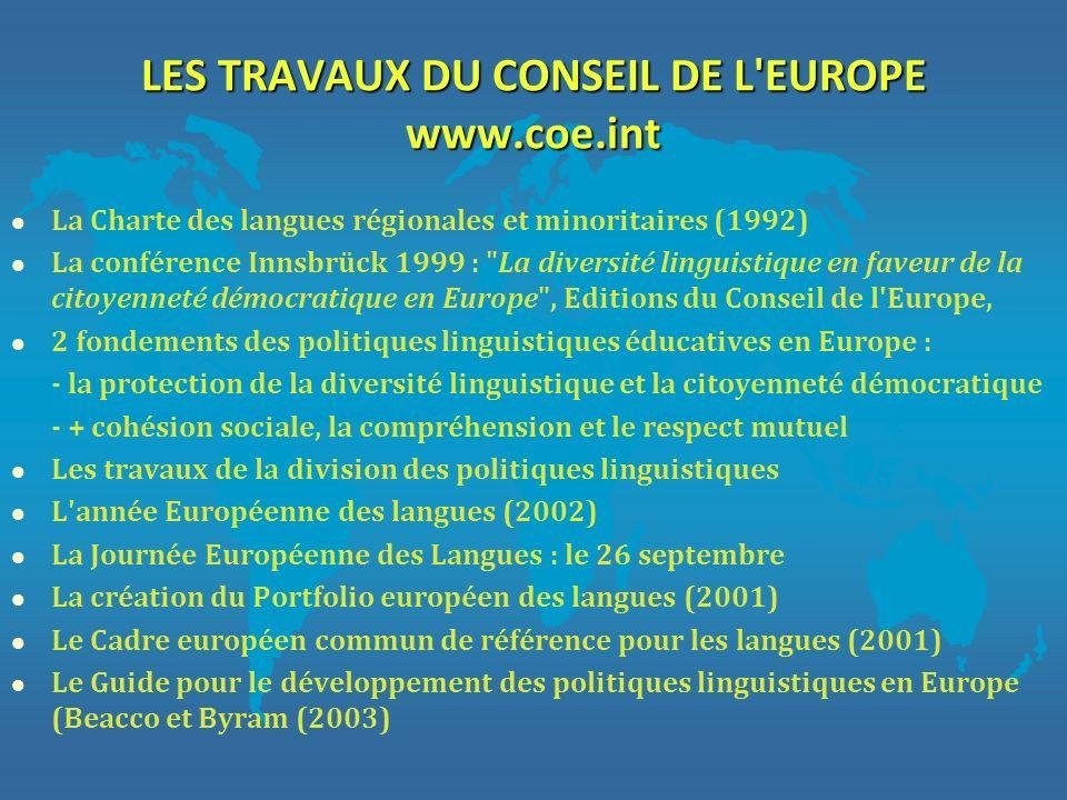 LES TRAVAUX DU CONSEIL DE L'EUROPE www.coe.int l La Charte des langues régionales et minoritaires (1992) l La conférence Innsbrück 1999 :