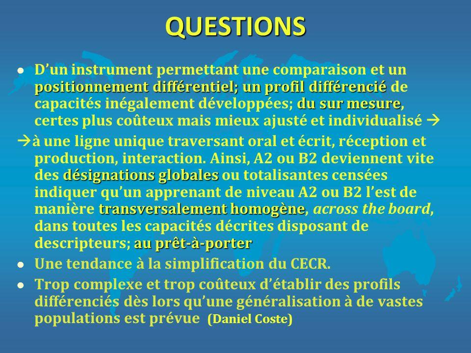 QUESTIONS positionnement différentiel; un profil différencié du sur mesure l Dun instrument permettant une comparaison et un positionnement différenti