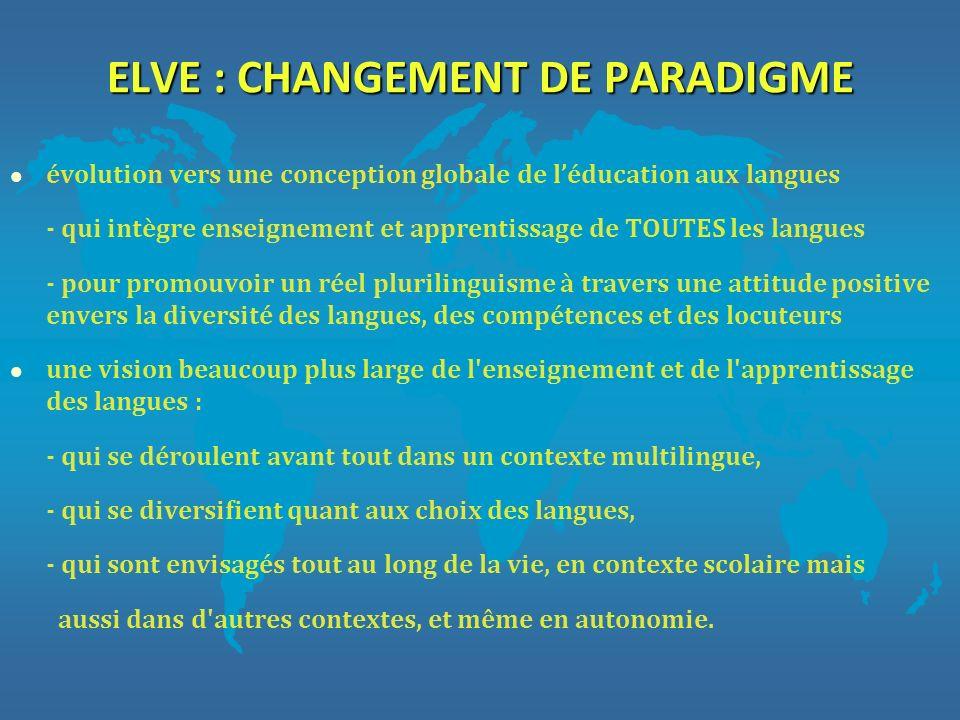 ELVE : CHANGEMENT DE PARADIGME l évolution vers une conception globale de léducation aux langues - qui intègre enseignement et apprentissage de TOUTES