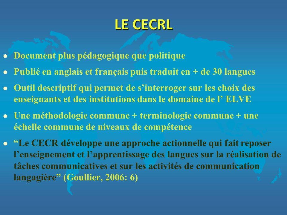 LES POLITIQUES LINGUISTIQUES ET LE CECR Le CECR joue actuellement un rôle majeur : 1.dans la définition des politiques linguistiques des Etats membres 2.pour laction des institutions et organismes engagés dans lenseignement, lévaluation ou la formation des enseignants