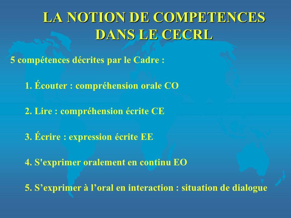 LA NOTION DE COMPETENCES DANS LE CECRL 5 compétences décrites par le Cadre : 1. Écouter : compréhension orale CO 2. Lire : compréhension écrite CE 3.