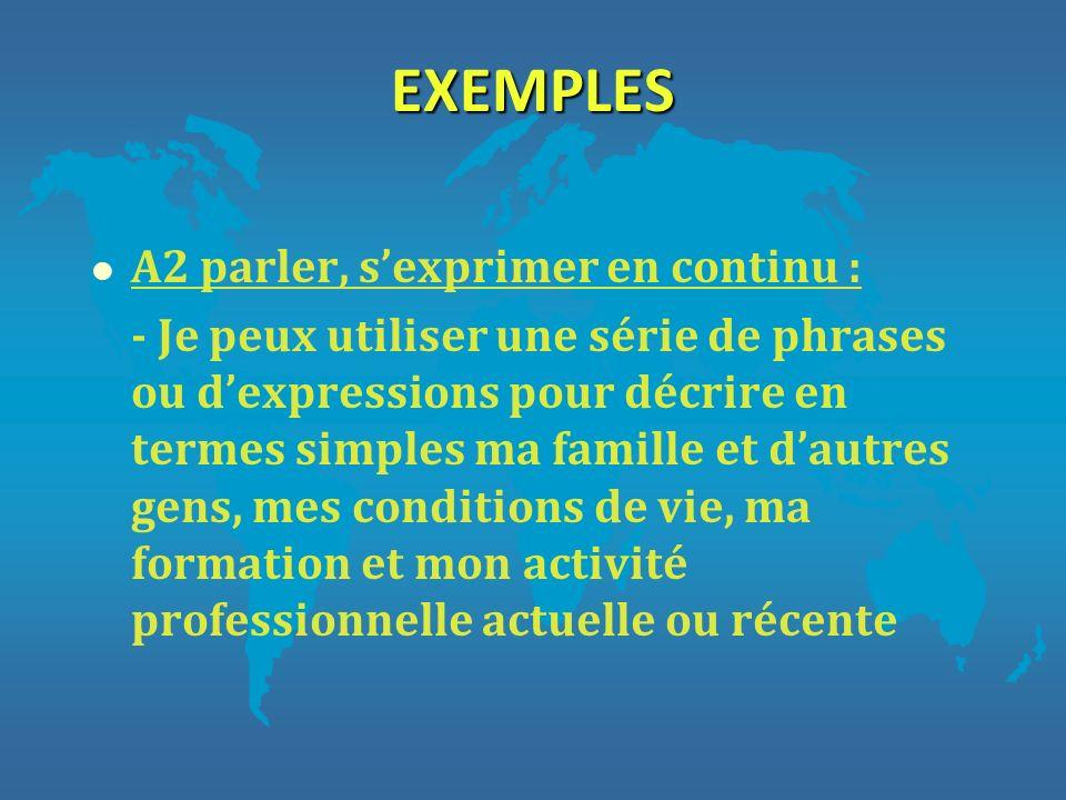 EXEMPLES l A2 parler, sexprimer en continu : - Je peux utiliser une série de phrases ou dexpressions pour décrire en termes simples ma famille et daut