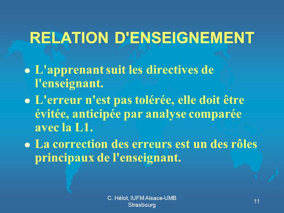 C. Hélot, IUFM Alsace-UMB Strasbourg 11 RELATION D'ENSEIGNEMENT l L'apprenant suit les directives de l'enseignant. l L'erreur n'est pas tolérée, elle