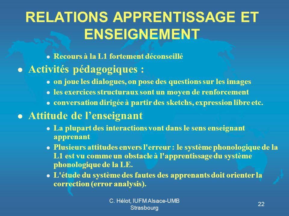 C. Hélot, IUFM Alsace-UMB Strasbourg 22 RELATIONS APPRENTISSAGE ET ENSEIGNEMENT l Recours à la L1 fortement déconseillé l Activités pédagogiques : l o