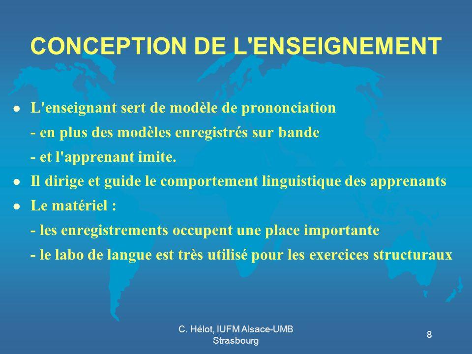 C. Hélot, IUFM Alsace-UMB Strasbourg 8 CONCEPTION DE L'ENSEIGNEMENT l L'enseignant sert de modèle de prononciation - en plus des modèles enregistrés s