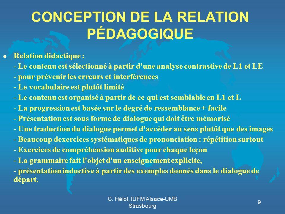 C. Hélot, IUFM Alsace-UMB Strasbourg 9 CONCEPTION DE LA RELATION PÉDAGOGIQUE l Relation didactique : - Le contenu est sélectionné à partir d'une analy