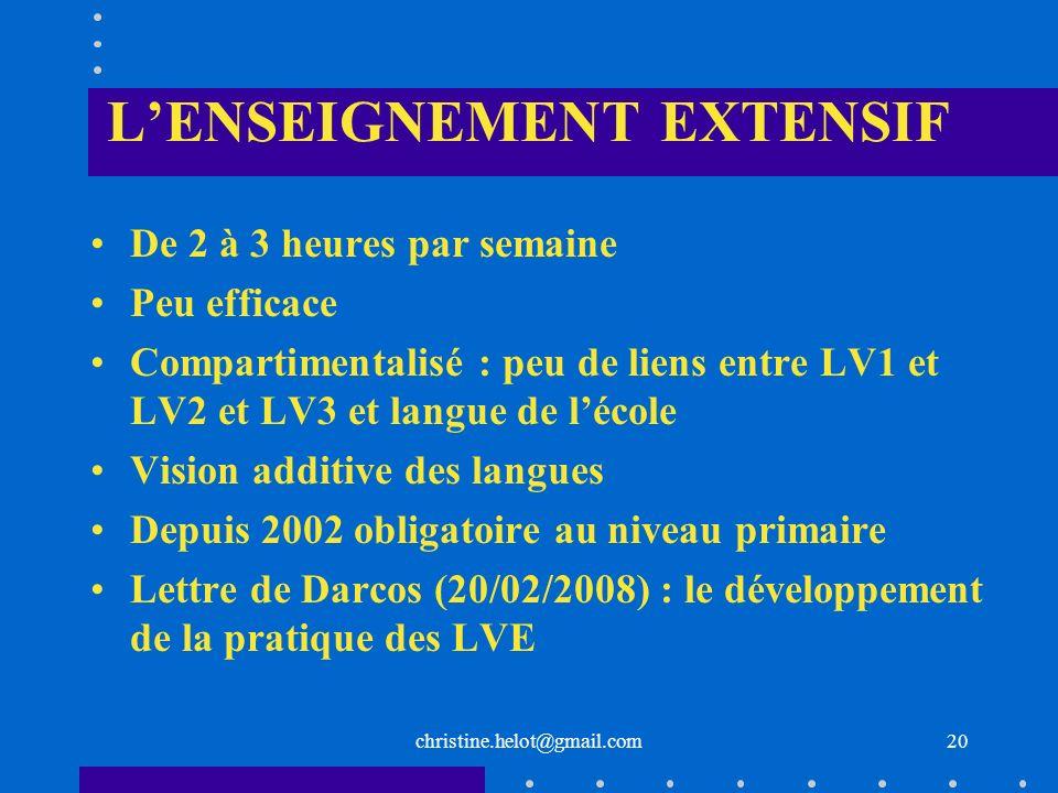 LENSEIGNEMENT EXTENSIF De 2 à 3 heures par semaine Peu efficace Compartimentalisé : peu de liens entre LV1 et LV2 et LV3 et langue de lécole Vision ad