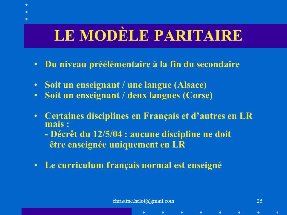 christine.helot@gmail.com LE MODÈLE PARITAIRE Du niveau préélémentaire à la fin du secondaire Soit un enseignant / une langue (Alsace) Soit un enseign