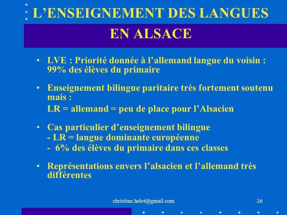 christine.helot@gmail.com LENSEIGNEMENT DES LANGUES EN ALSACE LVE : Priorité donnée à lallemand langue du voisin : 99% des élèves du primaire Enseigne