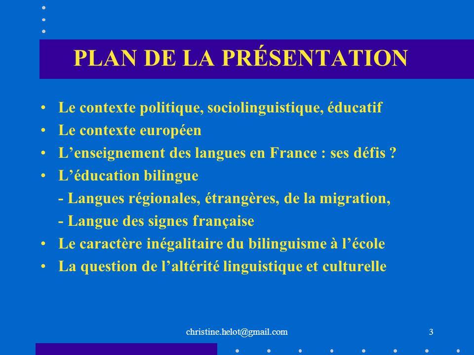 christine.helot@gmail.com MODÈLES DENSEIGNEMENT DES LANGUES REGIONALES Modèle extensif (3h hebdo), facultatif, langue et culture régionales Modèles bilingues dits : - paritaire = 13h/13h dans le public - dimmersion = dans le privé uniquement * Diwan en Bretagne (1977) * Seaska au Pays Basque (1969) * Calendretas en Occitan (1979) * ABCM en Alsace (1991) Ces modèles nexistent que pour les LR 24