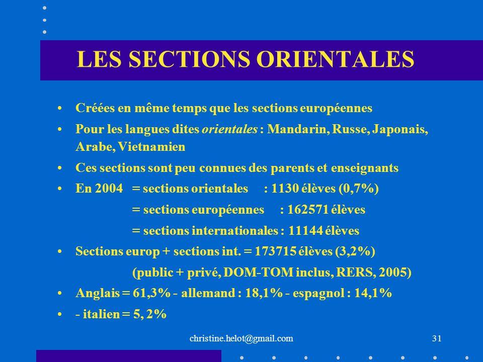 christine.helot@gmail.com LES SECTIONS ORIENTALES Créées en même temps que les sections européennes Pour les langues dites orientales : Mandarin, Russ