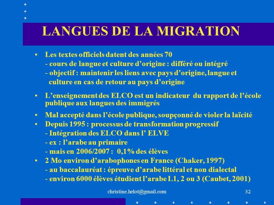christine.helot@gmail.com LANGUES DE LA MIGRATION Les textes officiels datent des années 70 - cours de langue et culture dorigine : différé ou intégré