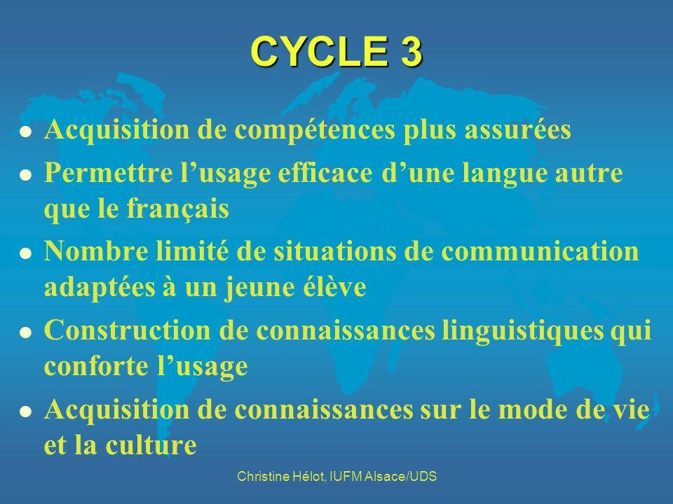 CYCLE 3 l Acquisition de compétences plus assurées l Permettre lusage efficace dune langue autre que le français l Nombre limité de situations de comm